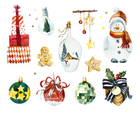 Set of christmas elements. Watercolor hand drawn illustration