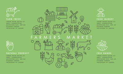 Fototapeta Vector set of logos, badges and icons for natural farm and health products. Collection symbol of localy grown and organic food. Concept illustration for farmers market. Infographic. obraz