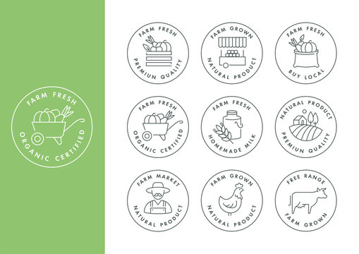 Vector set of logos, badges and icons for natural farm and health products. Collection symbol of localy grown and organic food.