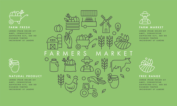 Vector set of logos, badges and icons for natural farm and health products. Collection symbol of localy grown and organic food. Concept illustration for farmers market. Infographic.