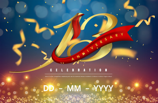13 years anniversary logo template on gold and blue background. 13th celebrating golden numbers with red ribbon vector and confetti isolated design elements