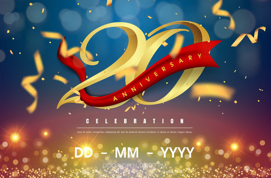 20 years anniversary logo template on gold and blue background. 20th celebrating golden numbers with red ribbon vector and confetti isolated design elements