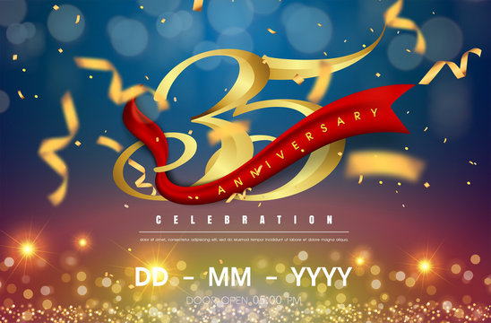 35 years anniversary logo template on gold and blue background. 35th celebrating golden numbers with red ribbon vector and confetti isolated design elements