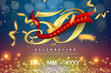 50 years anniversary logo template on gold and blue background. 50th celebrating golden numbers with red ribbon vector and confetti isolated design elements