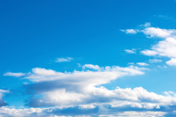 fluffy clouds on the azure winter sky. sunny weather. beautiful nature background for compositing
