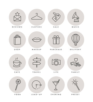 Vector set design colorful templates icons and emblems - social media story highlight. Different blogger icons in trendy linear style isolated on white background.