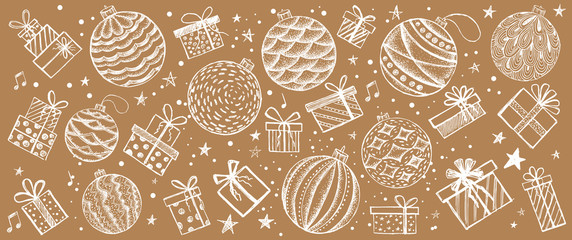 Christmas and New Year set. Hand drawn illustration.