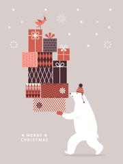 Christmas Card, Seasons greetings, Big polar bear with big gifts. Winter sale, shopping