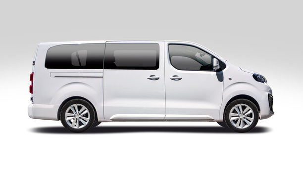 White minibus side view isolated