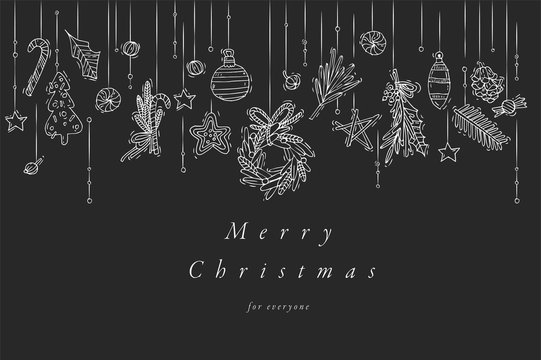 Vector hand draw design for Christmas greetings card silver color. Typography and icon for Xmas background, banners or posters and other printables. Winter holidays design elements.