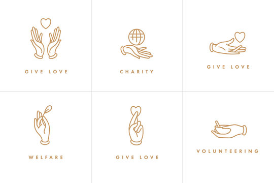 Vector set of logos, badges and icons for charity and volunteer concepts. Philanthropic organization signs design. Collection symbol of volunteer organizations.