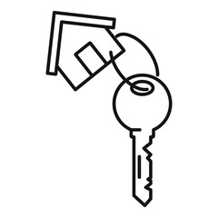 House key mortgage icon. Outline house key mortgage vector icon for web design isolated on white background