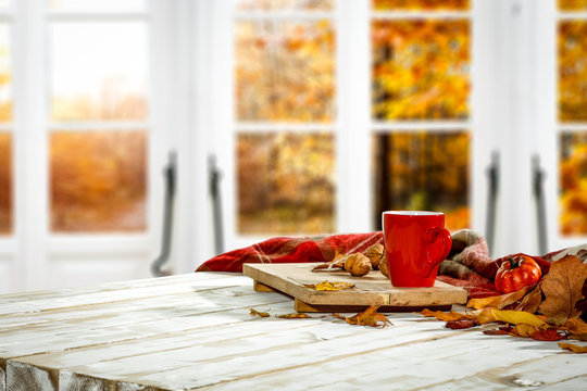 Wooden window of autumn with free space for your decoration.
