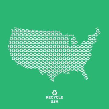 USA map made from recycling symbol. Environmental concept