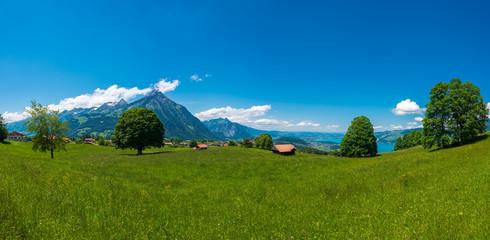 Panorama overlooking Mount Niesen, Lake Thun and the village Aeschi bei Spiez