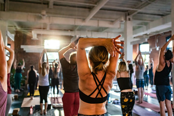 Diverse group of people in yoga class. A toned lady is seen from behind as she works through a grueling set of yogic moves in a workshop dedicated to sun salutes. With blurry people in background.