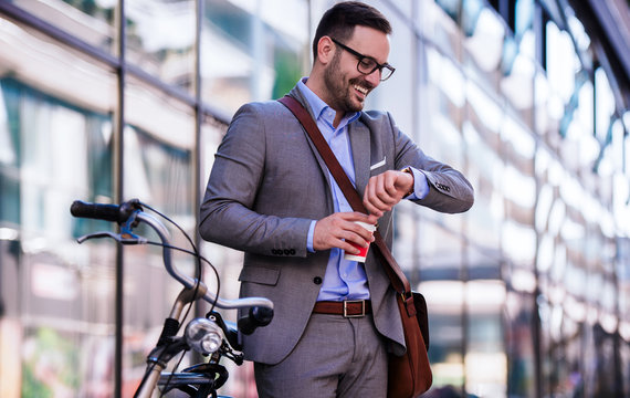 Always on time. Businessman drinking coffee before work. Business, lifestyle concept