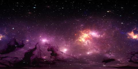 360 degree stellar system and gas nebula. Panorama, environment 360 HDRI map. Equirectangular projection, spherical panorama. Virtual reality background.