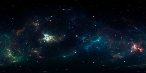 Fototapete - 360 degree space background with nebula and stars, equirectangular projection, environment map. HDRI spherical panorama.