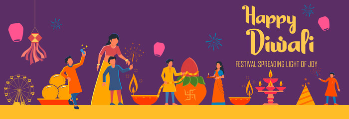 Wall Mural - illustration of Indian people celebrating on Happy Diwali Hindu Holiday background for light festival of India