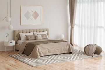 3d illustration. Cozy bedroom in warm colors with painting, a nightstand, a pouf, and a plaid