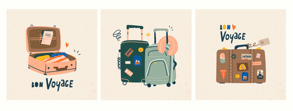 Bon voyage! Luggage bags, suitcases, baggage, travel bags. Vacation, holiday. Set of three hand drawn vector trendy illustrations. Cartoon style. Flat design. Greeting cards