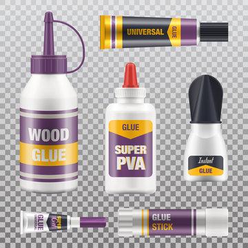 Super glue stick, tube packages, realistic mockups