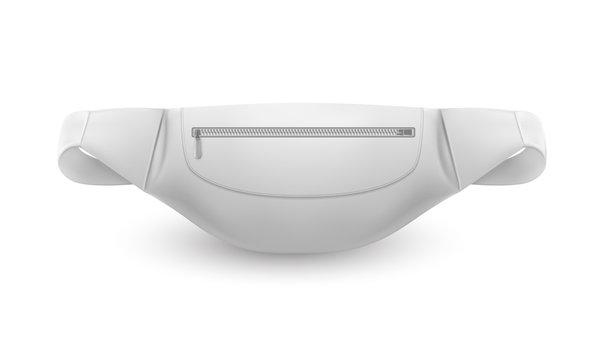 Waist bag, white belt pouch, sport fanny pack 3D