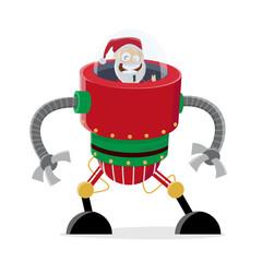 funny cartoon illustration of santa claus in christmas robot