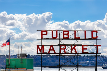 The neon Public Market sign at the famous Pike Place Market in Seattle, WA