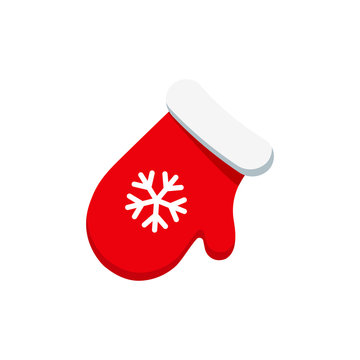 Christmas red mitten with snowflake icon