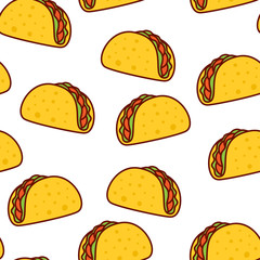 Tacos seamless pattern. Mexican food