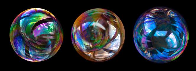 Obraz soap bubbles isolated on black background. - fototapety do salonu