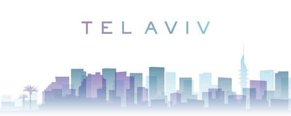 Tel Aviv Transparent Layers Gradient Landmarks Skyline
