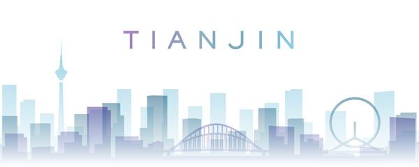 Tianjin Transparent Layers Gradient Landmarks Skyline Papier Peint