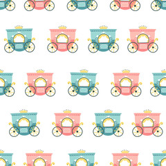 Princess carriage seamless vector pattern. Children's illustrations in cartoon Scandinavian style. Ideal for textiles, packaging, wallpapers, etc