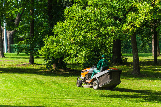 worker in a green jumpsuit mows the grass with a mechanical lawn mower in a summer park