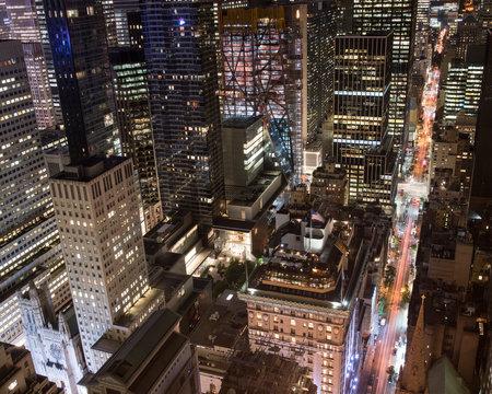 Aerial city view of manhattan at night.