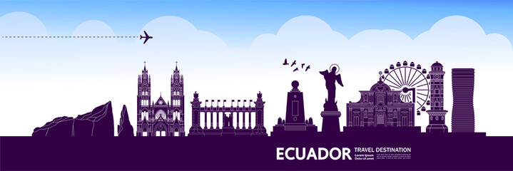 Fototapete - Ecuador travel destination grand vector illustration.