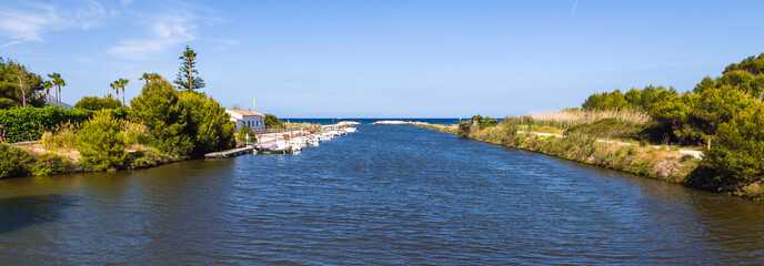 The Suriana channel near Playa de Muro beach in Alcudia. Island of Majorca. Spain