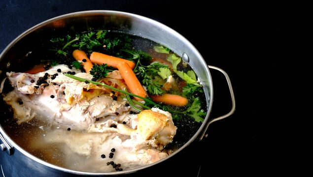 soup stock with meat and vegetables