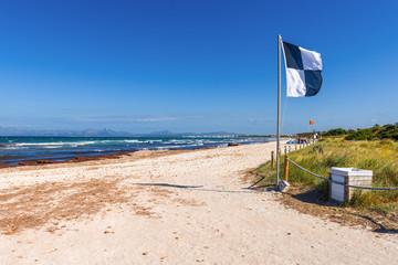 Muro beach (Playa de Muro) located next to the most popular Alcudia beach in Mallorca. Spain