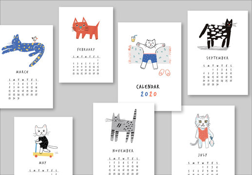 Annual Calendar Layout with Illustrated Cats
