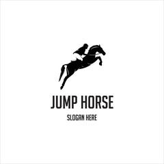 jump horse silhouette logo vector