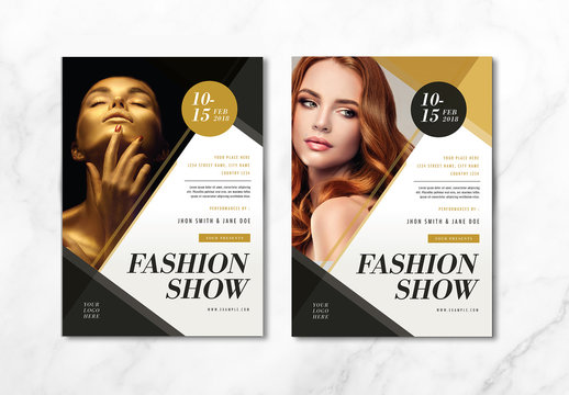 Fashion Show Flyer Layout with Gold Accents