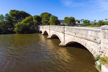 Bridge over the Suriana channel in Alcudia on Mallorca. Spain