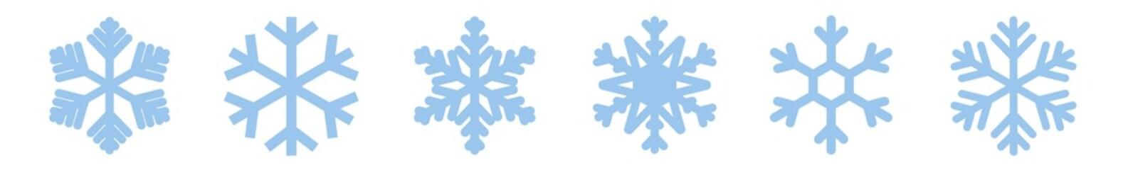 Snowflake Icon Blue | Snowflakes | Ice Crystal Winter Symbol | Christmas Logo | Xmas Sign | Variations