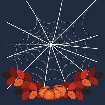 halloween pumpkins with spiderweb scene
