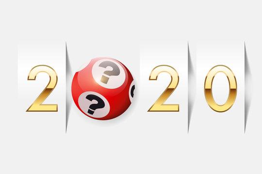 l'année 2020 sur le concept de la chance au jeu, avec pour symbole une boule de loto exprimant le hasard dans l'espoir de devenir riche.