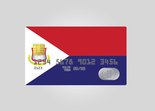 Credit card with country flag of Saint Martin